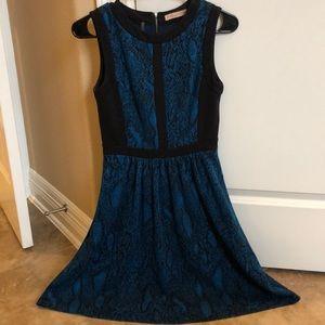 Blue Snakeskin Rebecca Taylor Knee Length Dress